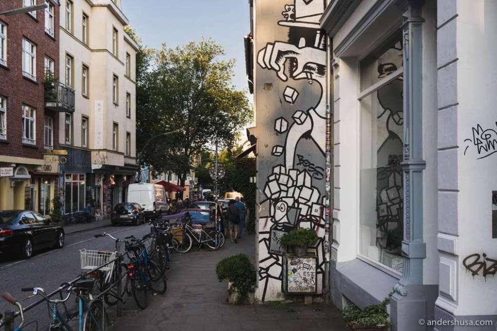The St. Pauli district in Hamburg