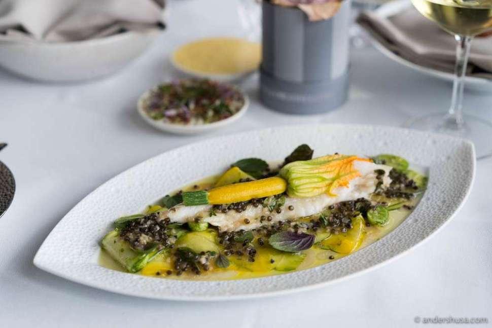 Turbot, zucchini, baby cucumbers, lemon zest, and Rossini caviar at no. 2 – Marchal in Copenhagen, Denmark.
