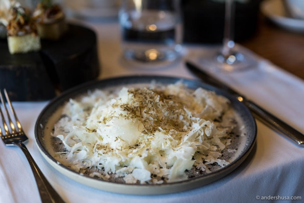 Creamy sheep cheese with raw cauliflower and black truffle at no. 21 – Selfie in Moscow, Russia.