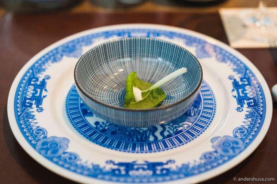 Homegrown pak choi with lime vinaigrette