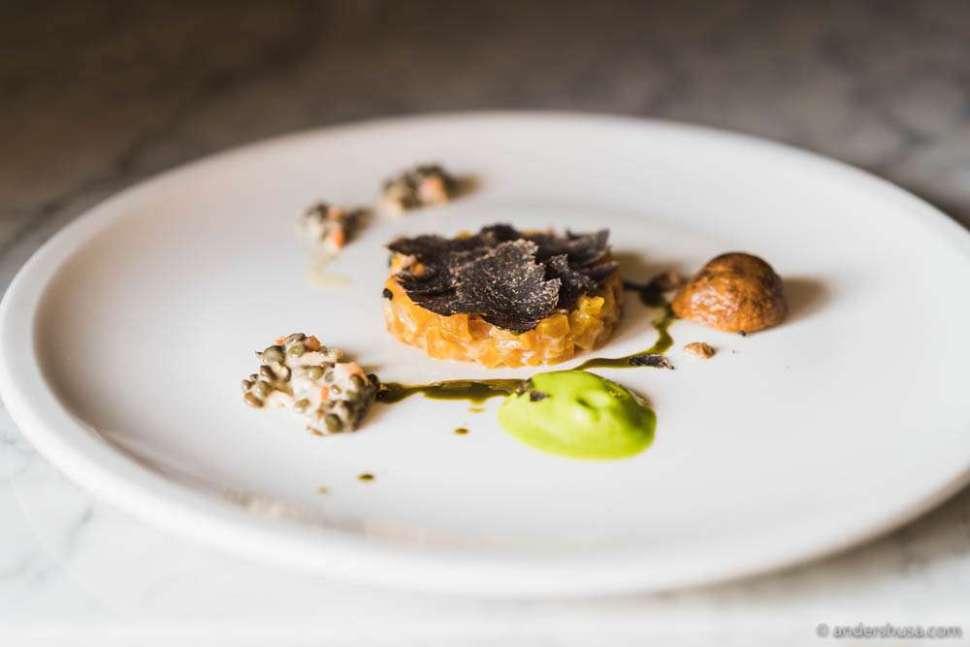 Yellow beet tartar with black Périgord winter truffle, hazelnut mayonnaise, pistachio oil & lentil vinaigrette.