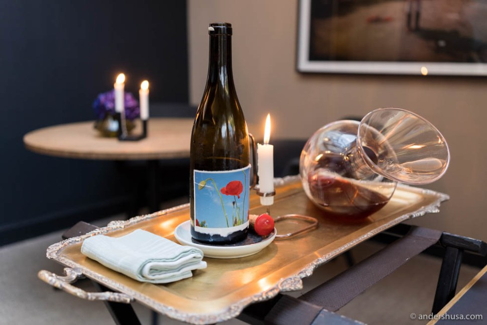 A special wine served by Kristoffer Aga