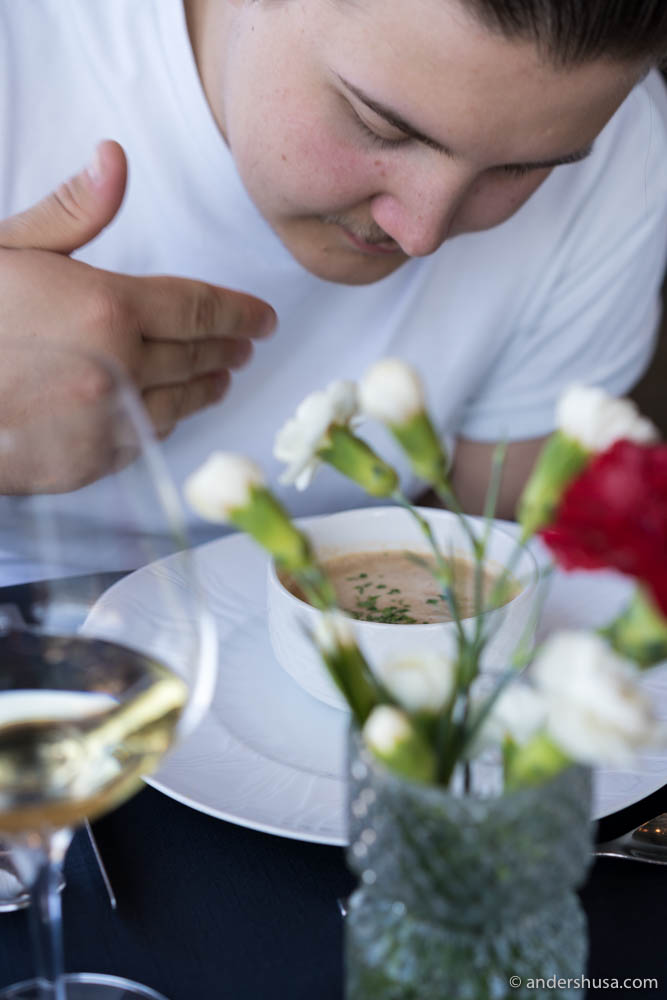 Simon doing the aroma test of the seafood bisque