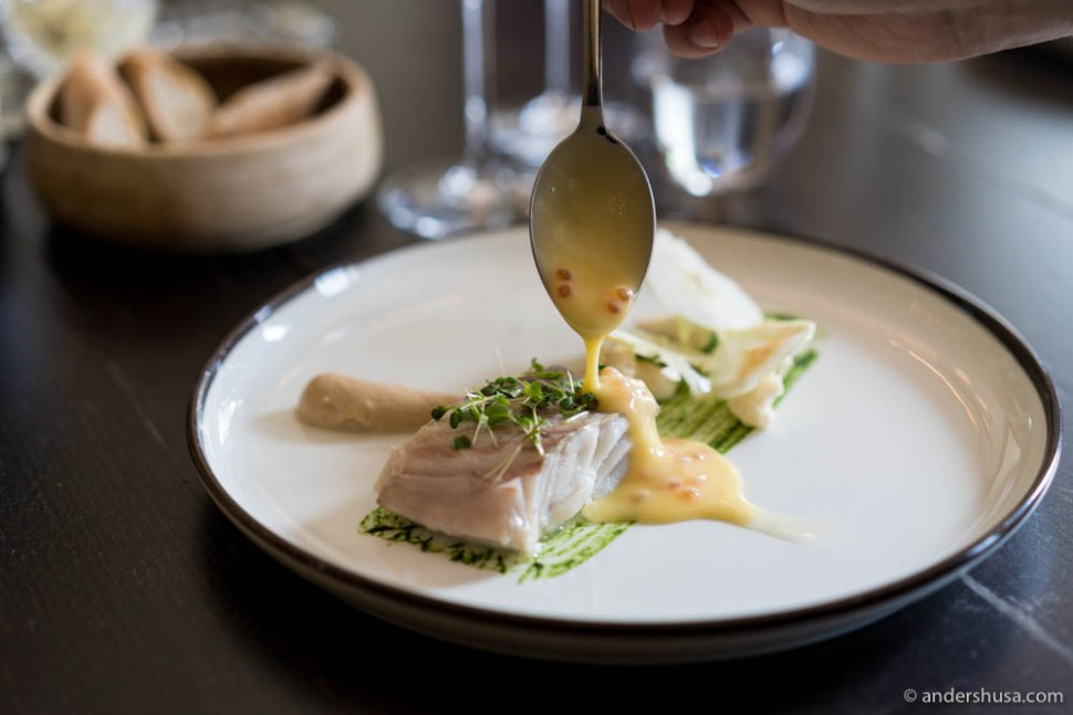 Saithe and butter sauce with fish roe