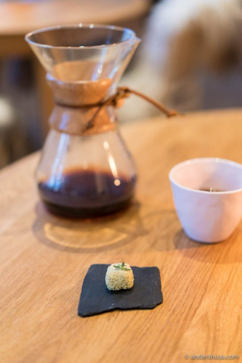 Happy ending: cocoa fat truffle filled with liquid black tea, honey & thyme.