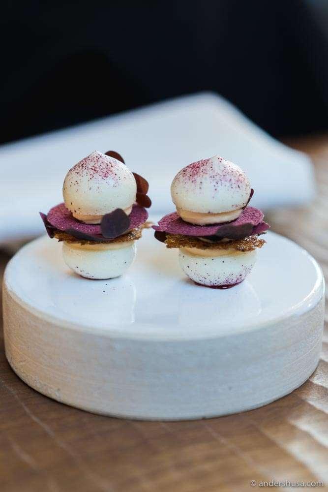 Grape macarons, whipped foie gras, condensed port wine, Danish rye & hibiscus