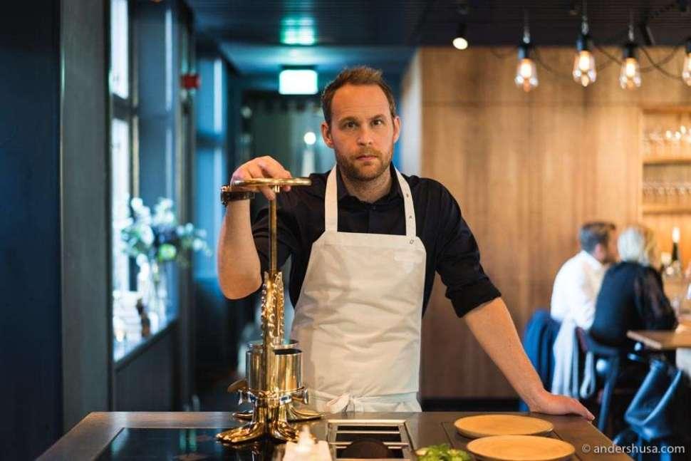 Chef patron Björn Frantzén and his duck press