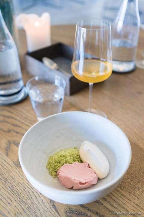 Rhubarb sherbet, frozen garden herbs & spent grain cream from Amass' menu