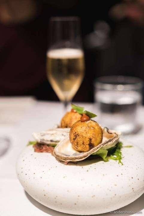 "Pulau Ubin oyster ""takoyaki"" with sambal & egg floss"