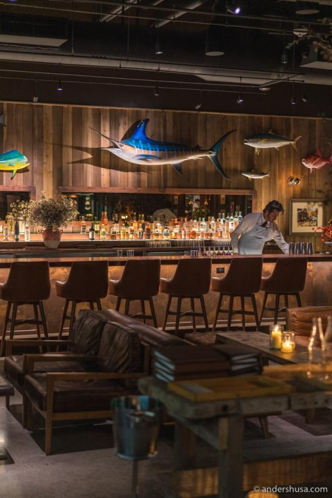 The interior at Angler leaves no doubt of the seafood focus.