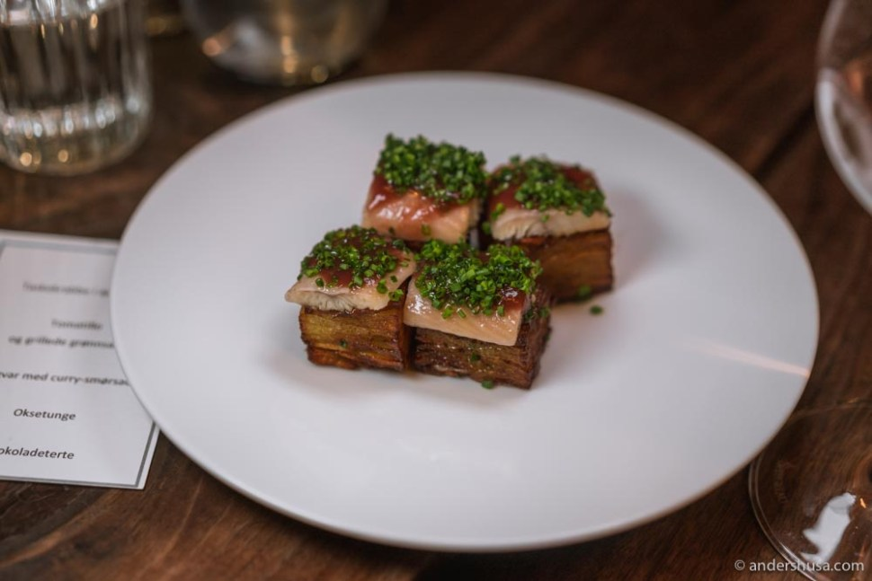 Smoked eel, pickled cherry, potato cake & chives.