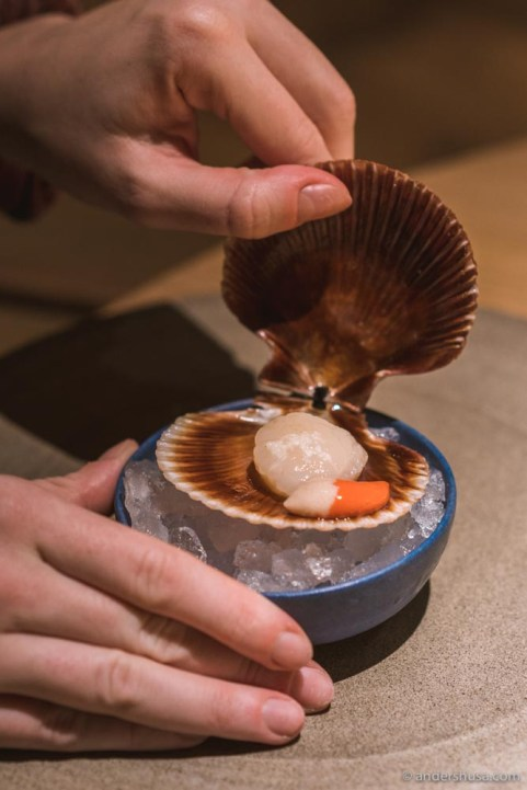 Scallop and its roe.