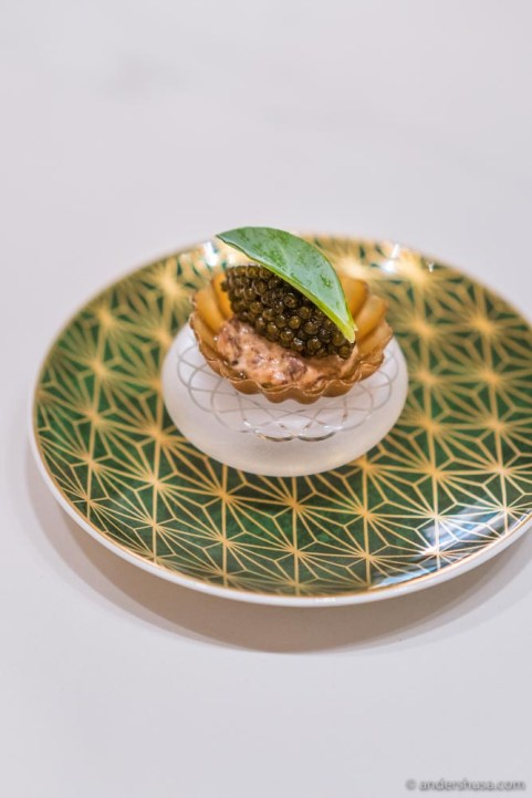 Tartelette made from mushroom stock, with reindeer tartare, and Rossini caviar.