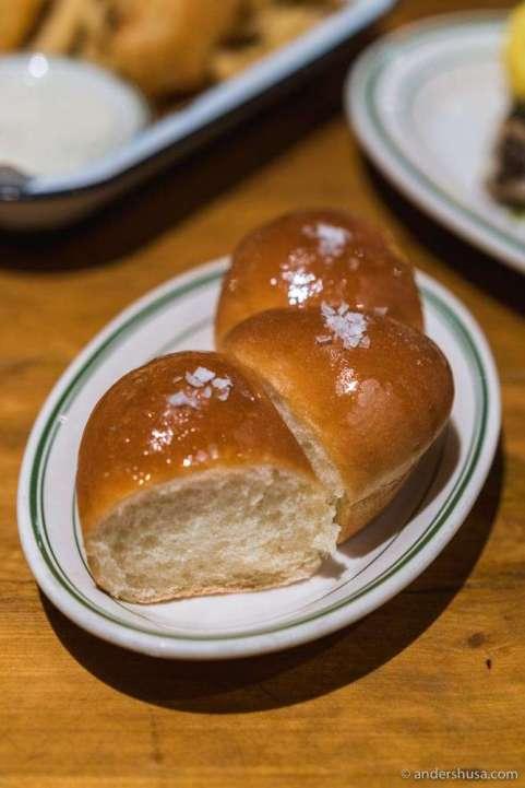 Hot buttered rolls.