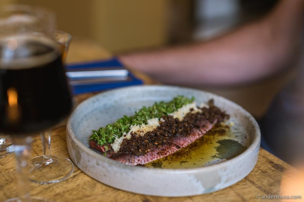 Christiansøpigens herring – brown butter, chives, horseradish, cress, rye bread crumble.