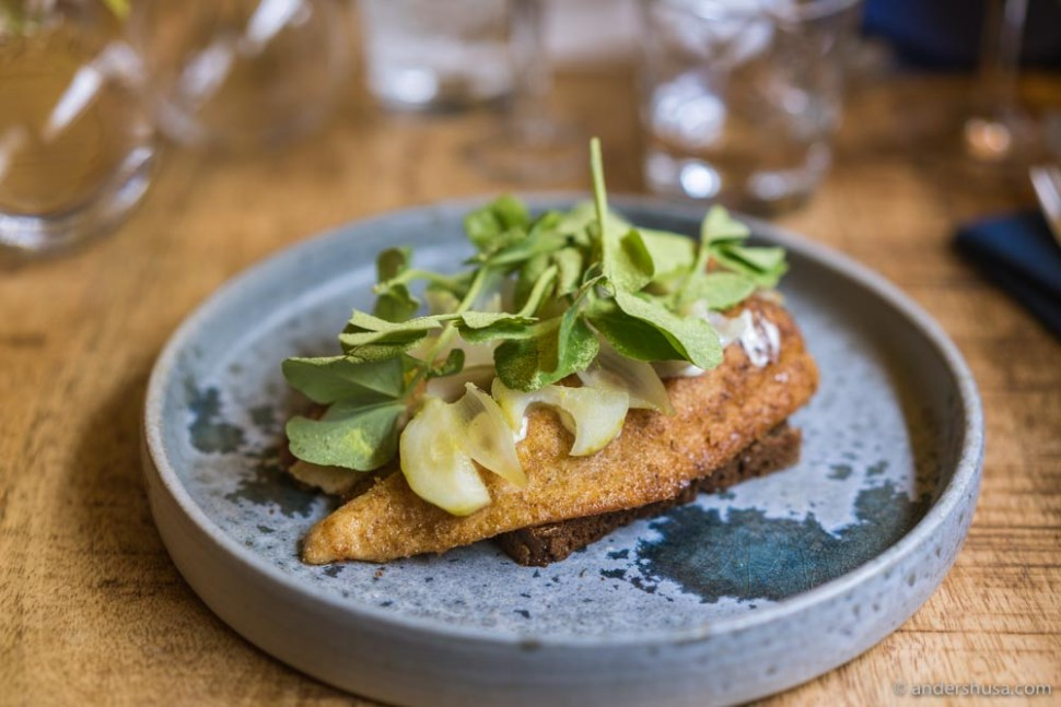 Fried plaice, horseradish mayo, onions, and pickled cucumbers.
