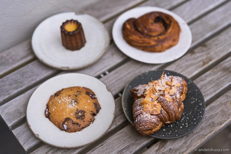 Our favorite pastries were the almond croissant and the canelé.
