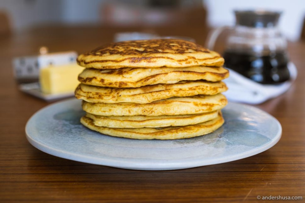 A perfect stack of fluffy buttermilk pancakes.