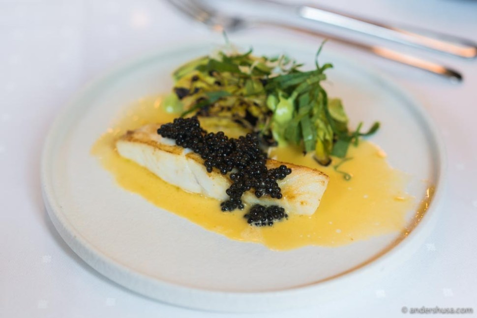 Turbot, Belgian caviar, ramson, cabbage, and a butter sauce with mussel broth.