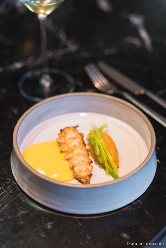 Langoustine with leeks and pumpkin compote.