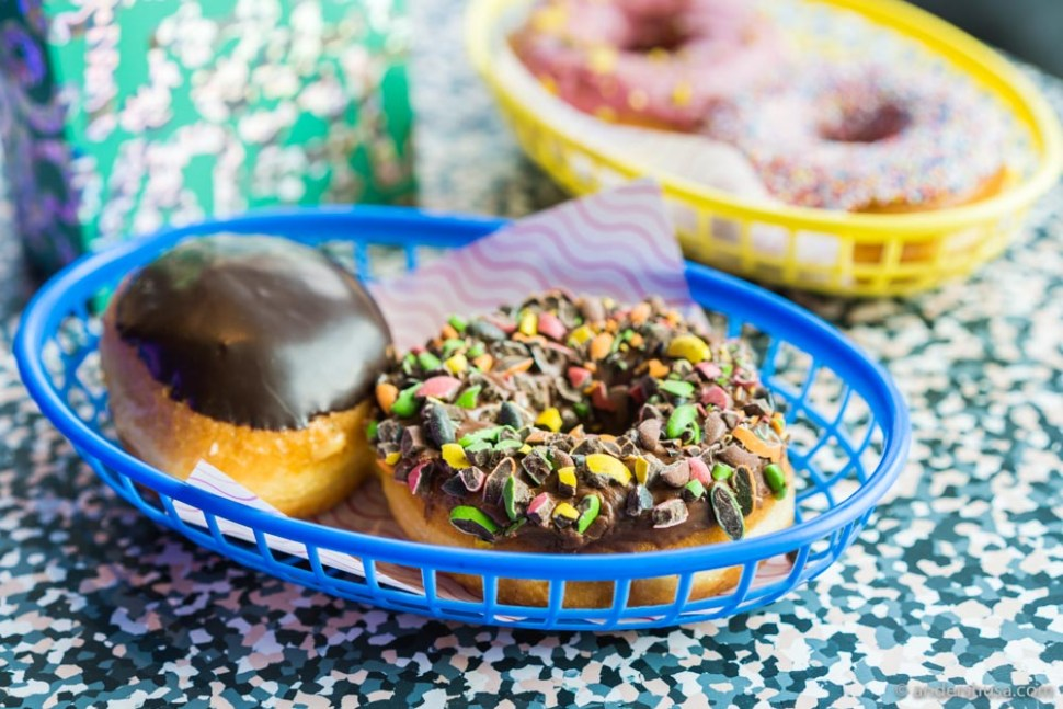 The Boston cream-filled doughnut and Nonstop candy-topped doughnut.