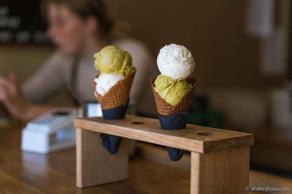 Milk and pistachio scoops at Alice – our favorite ice cream in Copenhagen.