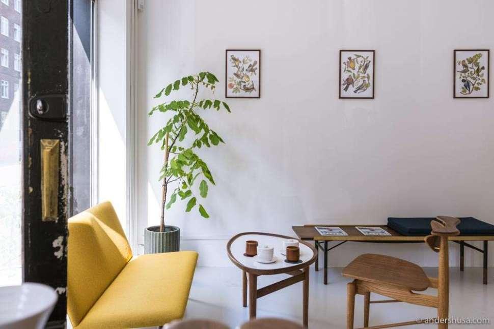 April Coffee Roasters' store has a sleek Scandinavian design with furniture from House of Finn Juhl.