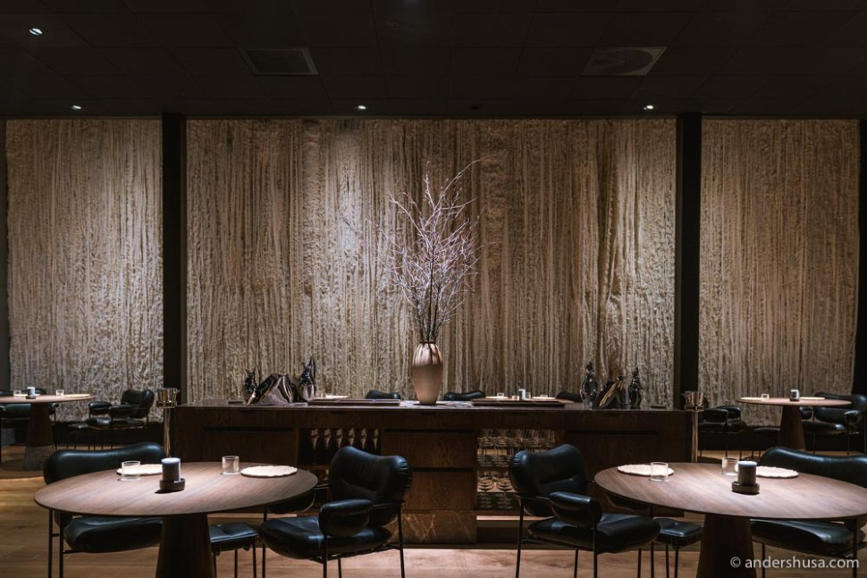 The wall art at Maaemo is made of leftover wool from bunad (Norway's national costume) production.