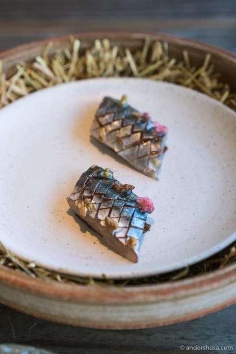 Mackerel on rye with preserves.