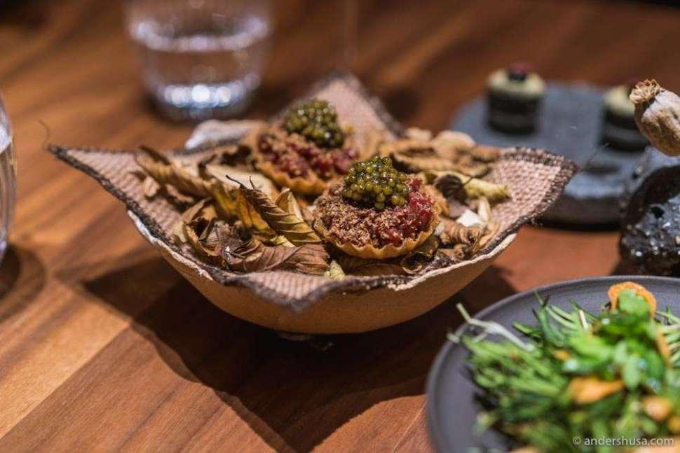Jerusalem artichoke, tartare of reindeer, and caviar.