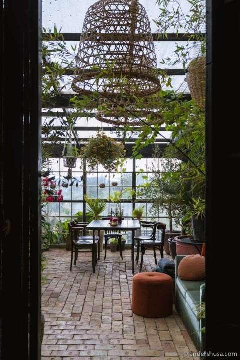 Enter the property through the orangerie.