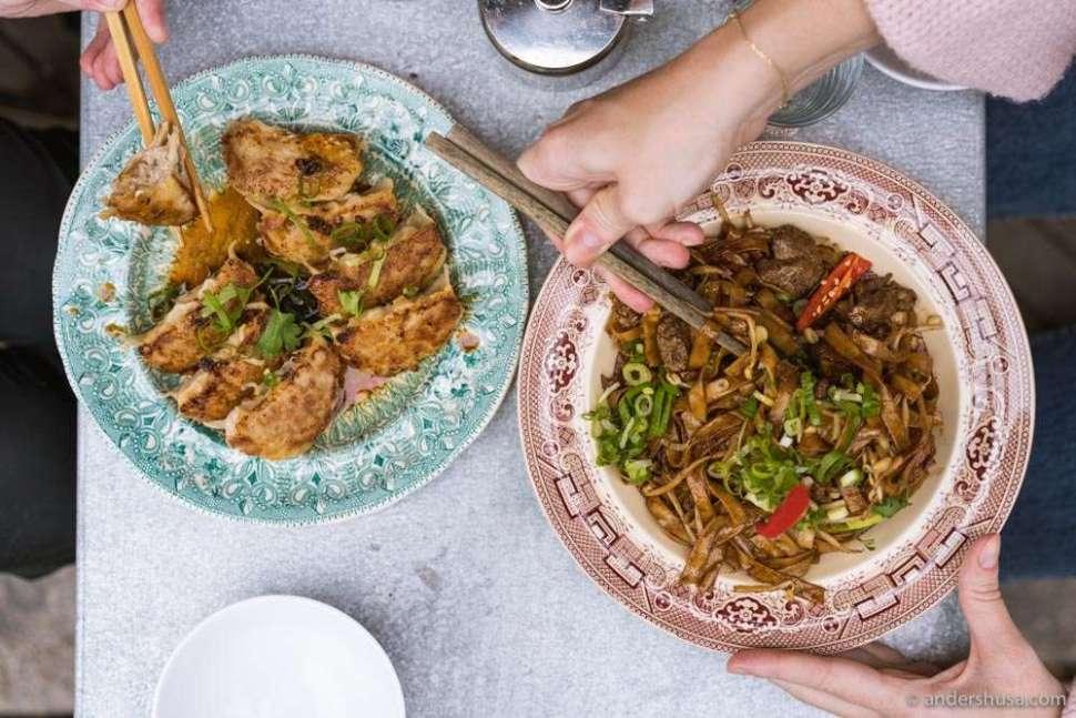 Crispy wo tip dumplings and beef chow ho fun noodles.