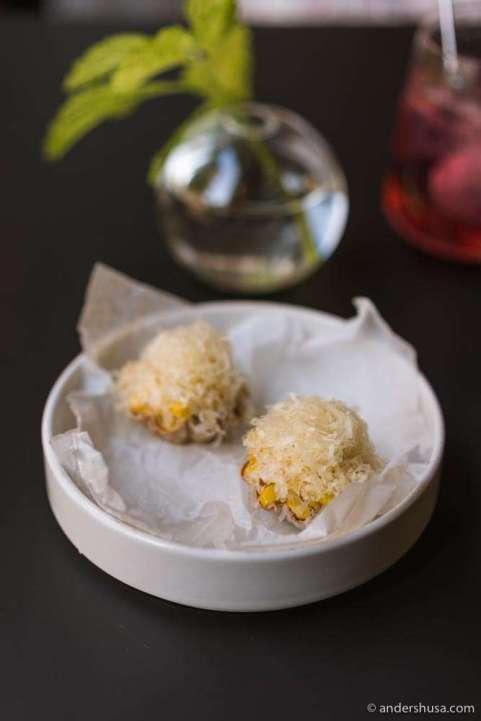 Corn tartelettes.