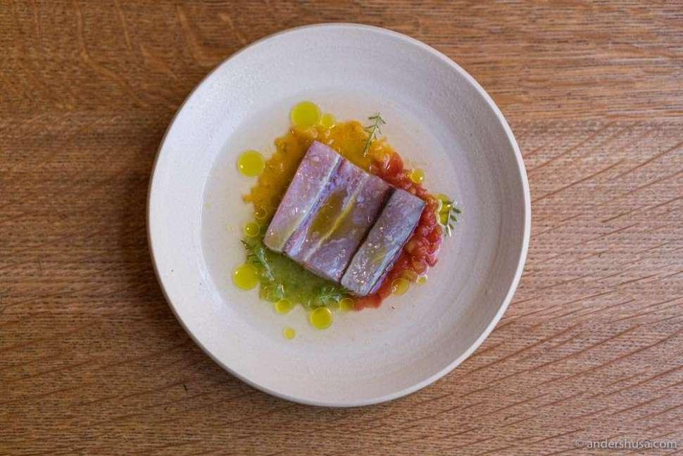 Cured mackerel and tomato tartare of three varieties.