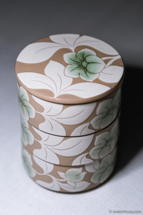 The petit fours came in a gorgeous stack of ceramics from the Korean producer Kwangjuyo.
