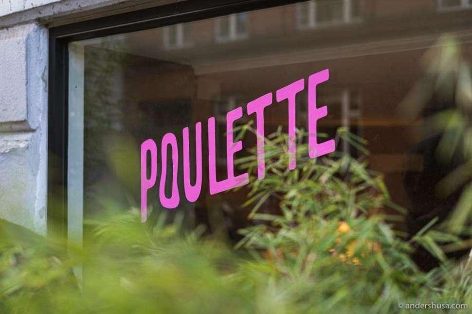 Poulette's pink logo.