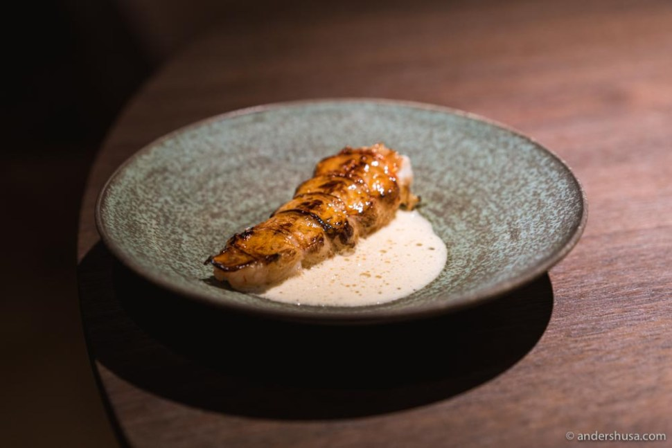 At no. 3 is the langoustine tail from Maaemo in Oslo, Norway.