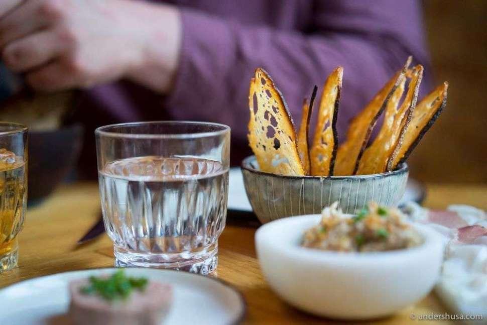 Liver paté of pork, ciccioli on confit pork, and 'nduja with wafer-thin crispy crostini.