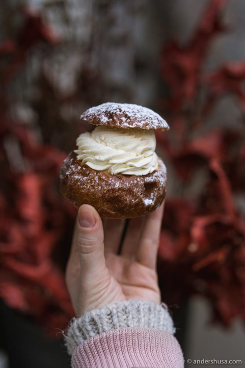 Buka's semla – cardamom bun with whipped cream and almond paste.