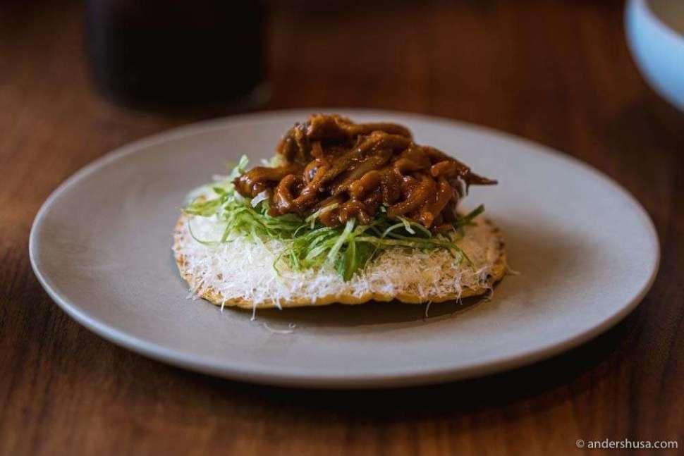 Mushroom tinga tostada – oyster mushrooms in salsa, iceberg lettuce, crema, and aged cheese.