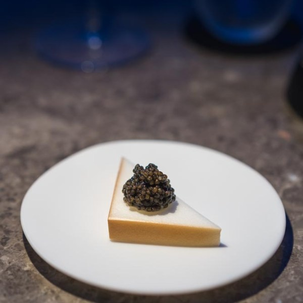 Cellulose toast with almond cream, brown butter, and caviar.