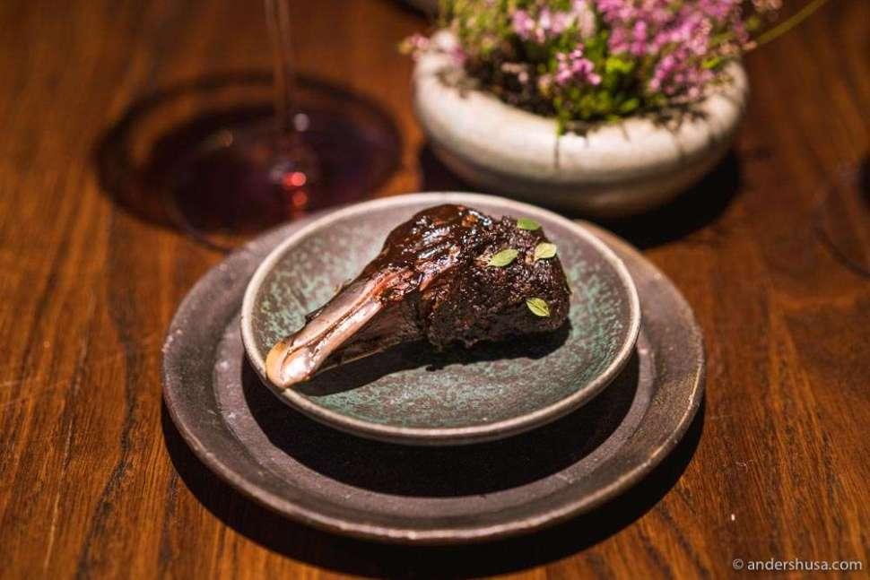 Fulmar (a type of seagull) head, tempura, black garlic, and lemon thyme.