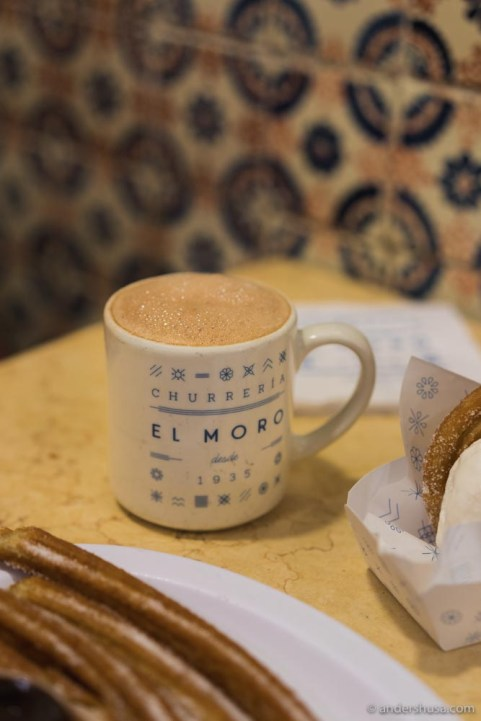 The Mexican hot chocolate is light and foamy.