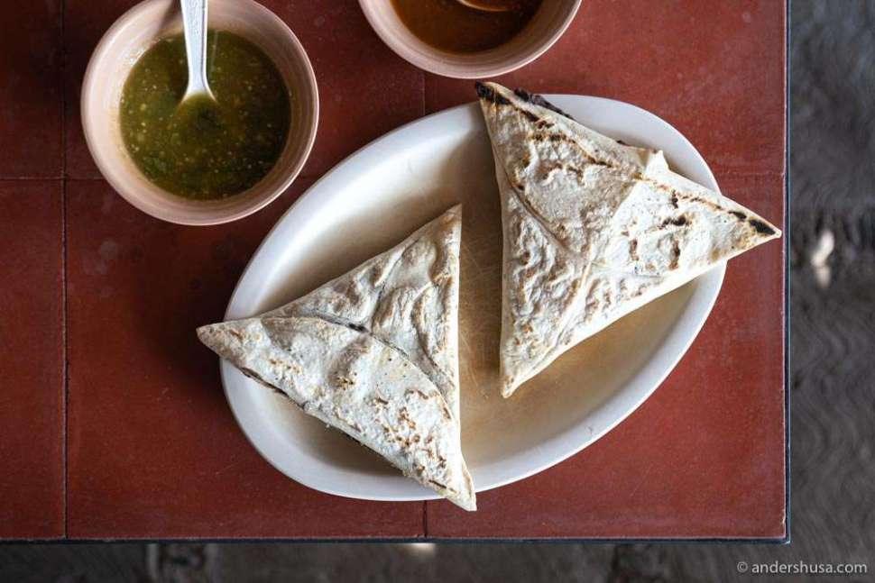 Teteles filled with bean and cheese & hoja santa at Itanoni.