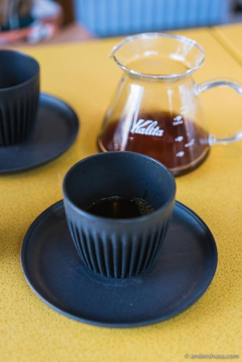 Cups made from recycled coffee husks.