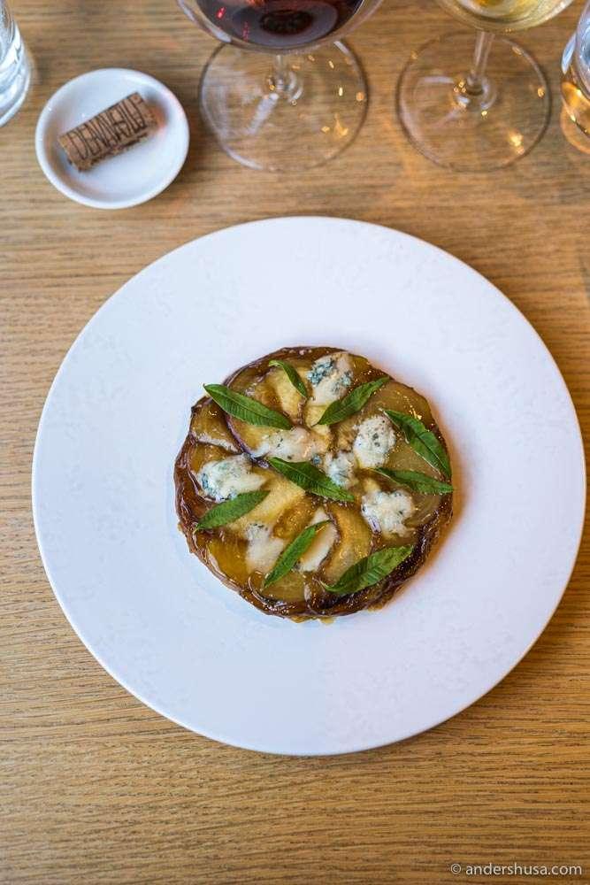 Peach tarte tatin with gorgonzola.