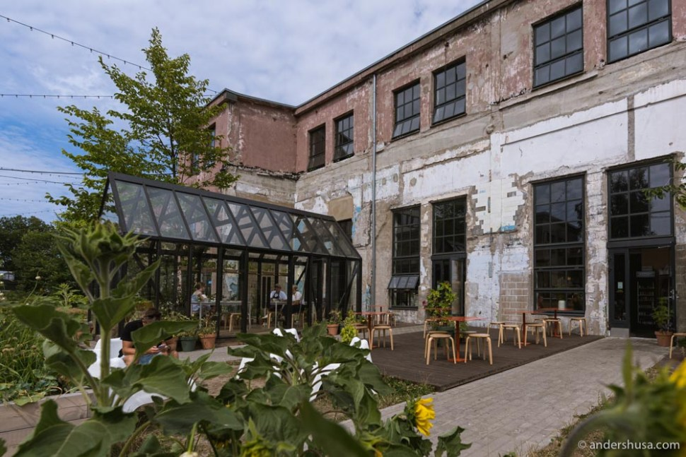 The beautiful outdoor seating area and greenhouse outside the bakery.