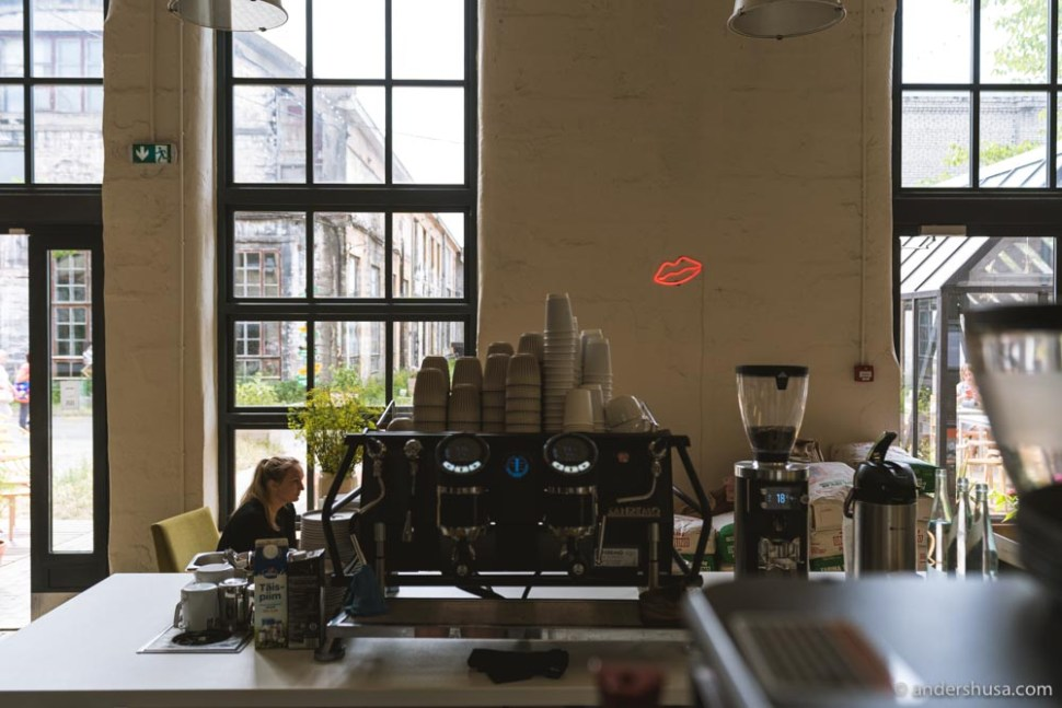 Karjase Sai serves coffee from Prolog and April in Copenhagen, and from Paper Mill in Estonia.