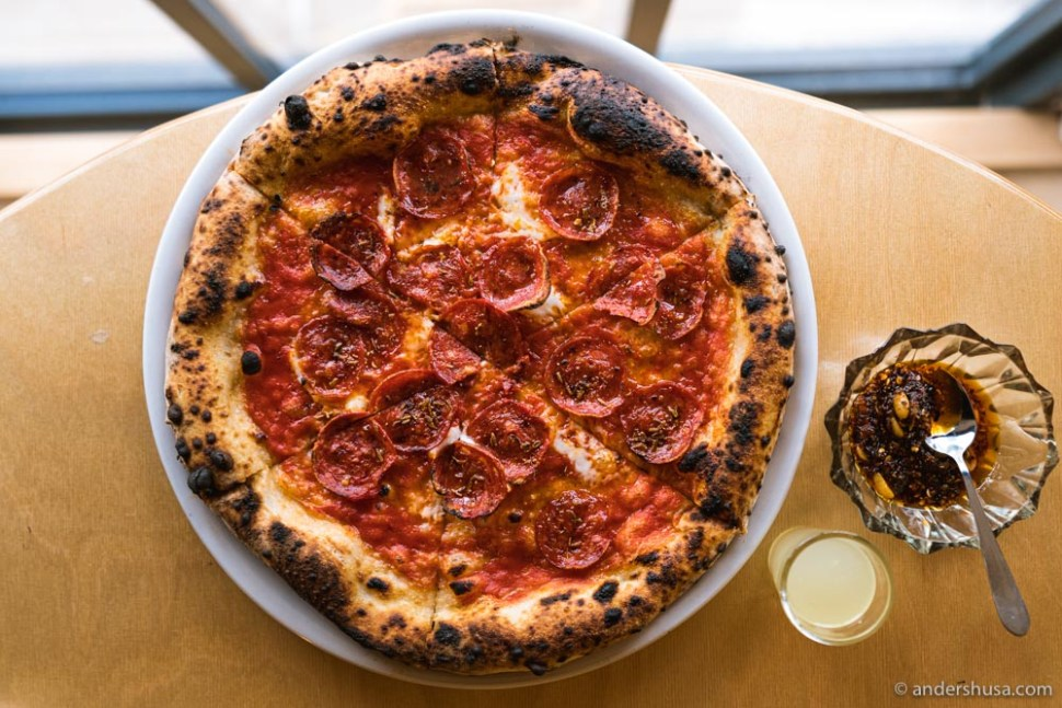 The pepperoni pizza with fennel seeds and spicy honey, and chili oil on the side.
