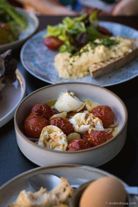 Confit garlic, tomatoes, and mozzarella.